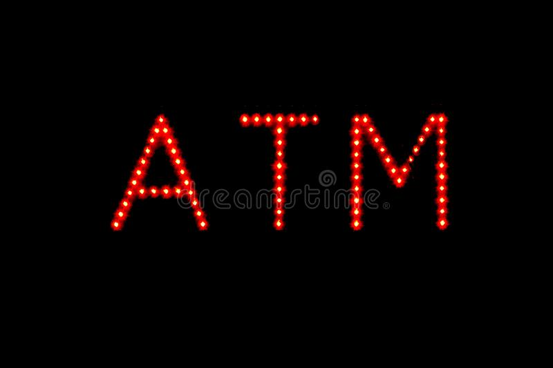 ATM cash machine neon sign. stock photography