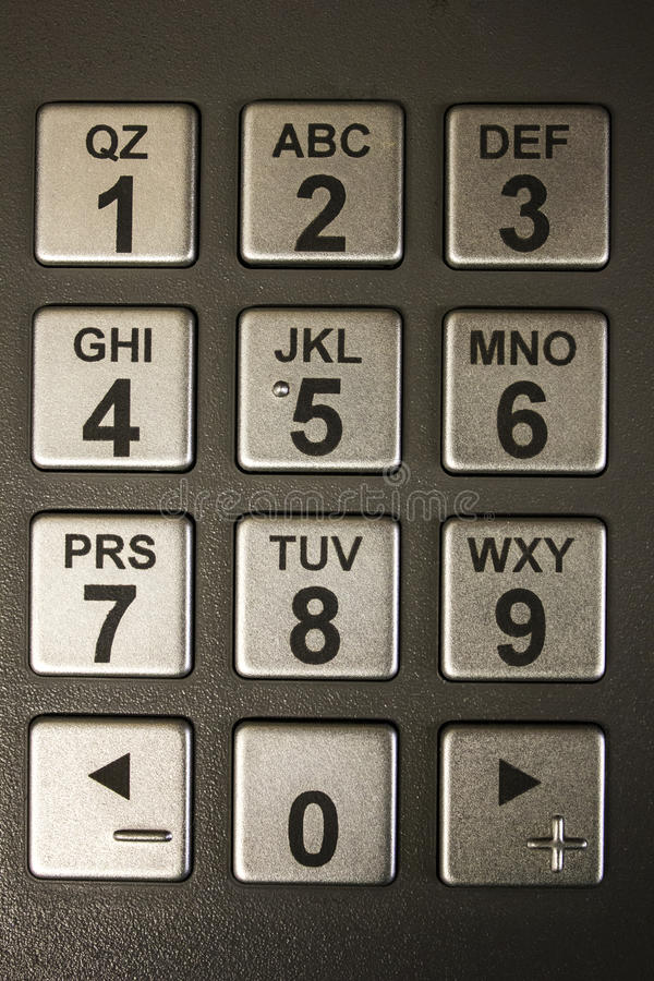 ATM Numeric Keypad. ATM automatic teller machine numeric keypad with number buttons royalty free stock photography