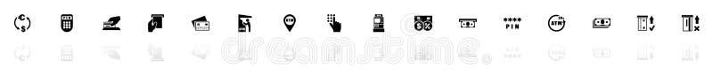 Atm - Płaskie Wektorowe ikony ilustracji