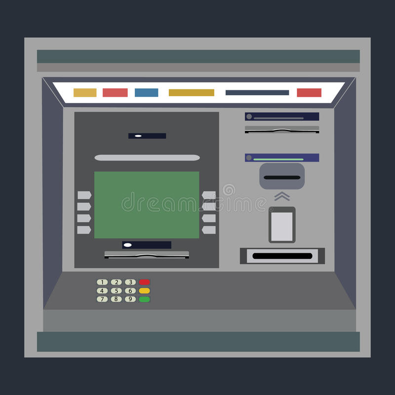 ATM payment . ATM machine with hand and credit card. vector illustration