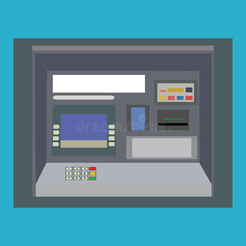 ATM payment vector. ATM machine with hand and credit card. vector illustration