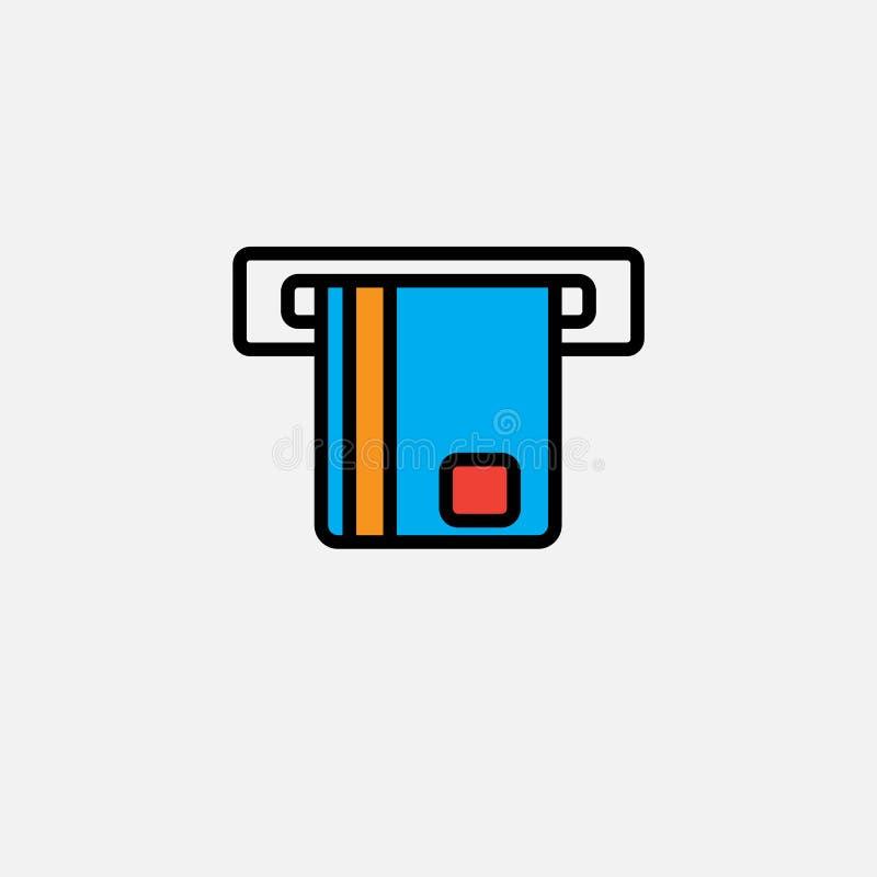 ATM-pictogram, illustratie van het overzichts de vectorembleem, gevuld kleuren lineair die pictogram op wit wordt geïsoleerd stock illustratie