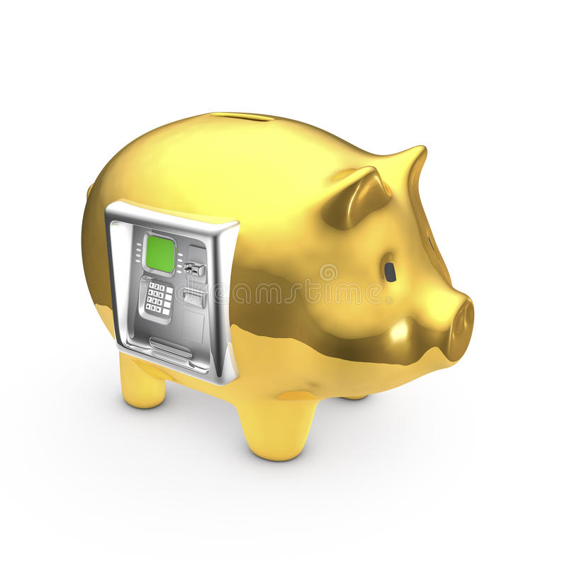 Download ATM piggy bank stock illustration. Image of fund, banking - 29011484