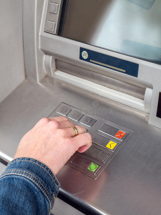 ATM PIN code entry stock photo