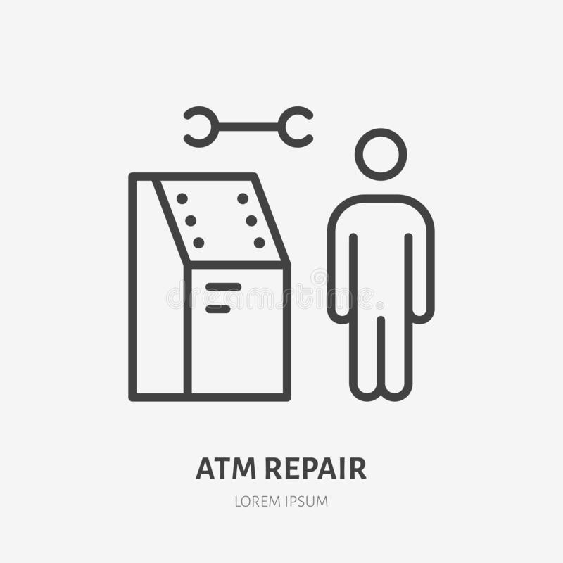 Free Atm Repair Flat Line Icon. Payment Terminal Vector Illustration. Thin Sign Of Repairman, Software Developer Pictogram Royalty Free Stock Images - 164417659