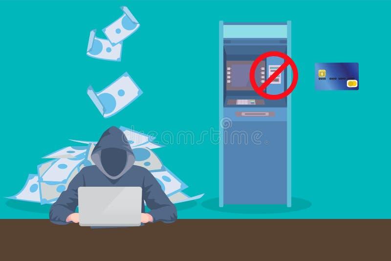 Atm skimming hacker steal data from atm card stock illustration