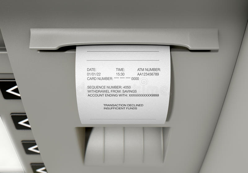 ATM Slip Declined Receipt. A closeup view of the slip printing section of an atm with a declined receipt royalty free stock image