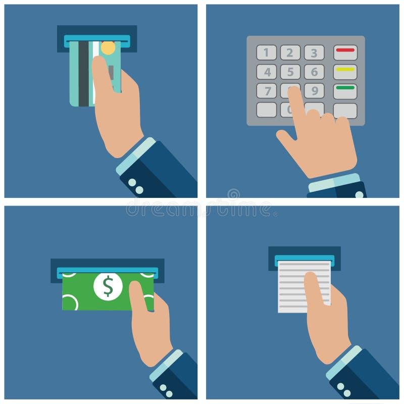 ATM terminal użycie Zapłata przez terminal Dostawać pieniądze od ATM karty również zwrócić corel ilustracji wektora ilustracji