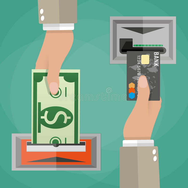 ATM terminal usage concept. One hand inserts a credit card into ATM and another hand takes the money from the ATM. vector illustration in flat design on green vector illustration