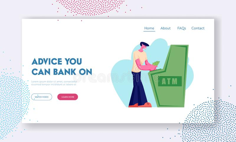 Atm Transaction Service, Banking Website Landing Page, Young Man Character Visiting Bank to Put or Withdraw Money. To Automated Teller Machine, Banking Web Page stock illustration