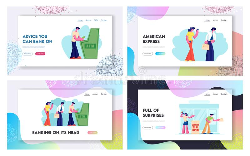 Atm Transaction Services, Banking Website Landing Page Set, Characters Draw or Put Money to Automated Teller Machine in Queue royalty free illustration