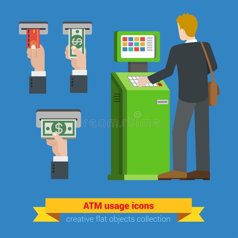 ATM użycia banka kredytowej karty pieniądze banknotu śmiertelnie ikony Płatnicze opcje deponuje pieniądze finansowej pieniądze pł ilustracji