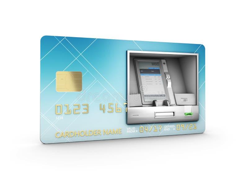 ATM und Gutschrift oder Debitkarte ATM und Kredit oder Debitkarte Abbildung 3D vektor abbildung