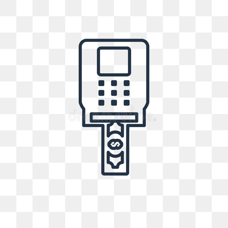 Atm wektorowa ikona odizolowywająca na przejrzystym tle, liniowy Atm t ilustracji