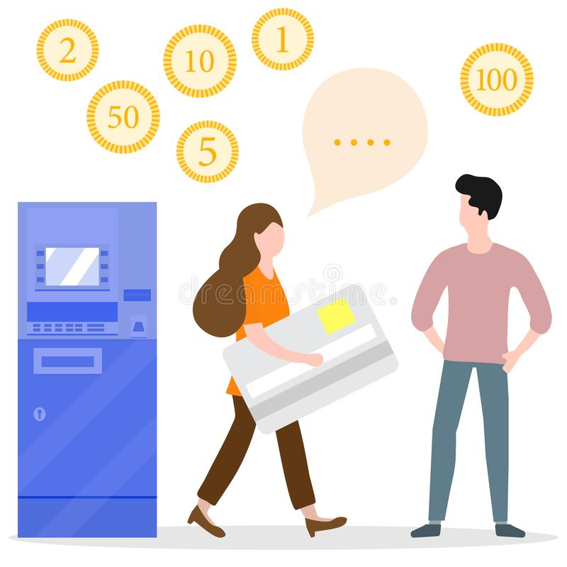 ATM, woman with bank card, male assistant. Finance. Vector illustration with people near ATM. Woman with bank card, male assistant helping clients. Financial stock illustration