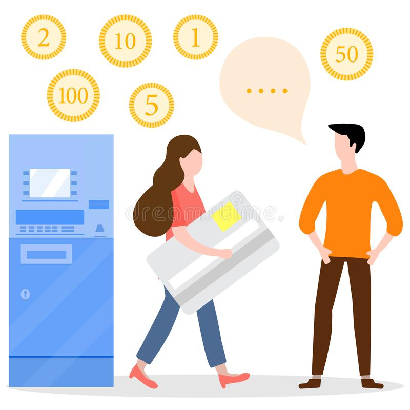 ATM, woman with bank card, male assistant. Finance. Vector illustration with people near ATM. Woman with bank card, male assistant helping clients. Financial vector illustration