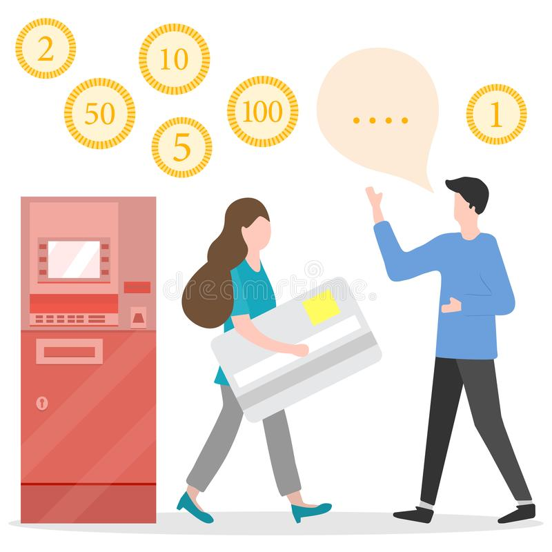 ATM, woman with bank card, male assistant. Finance. Vector. Vector illustration with people near ATM. Woman with bank card, male assistant helping clients stock illustration
