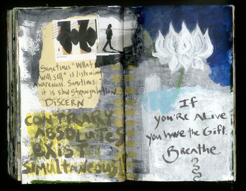 Atmen Sie die verrückte Klugheits-handgemachte Collage Art Journal des Künstlers vektor abbildung