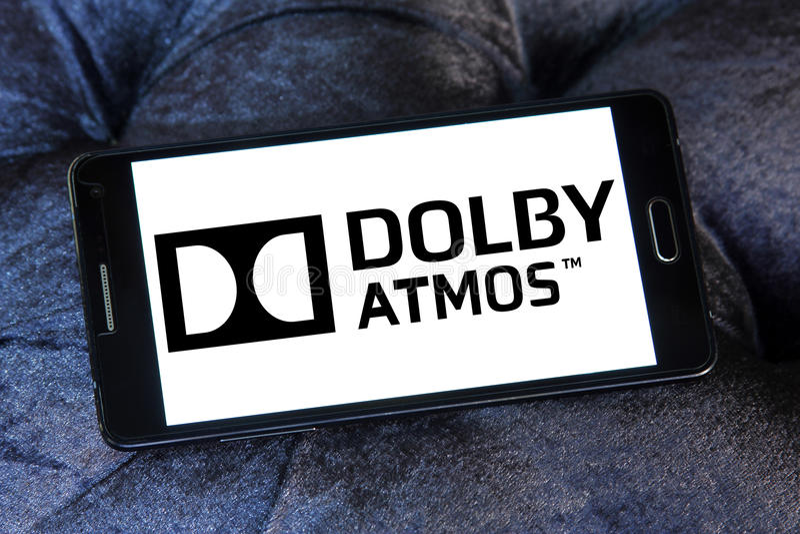 Atmos Dolby υγιές λογότυπο τεχνολογίας στοκ φωτογραφία με δικαίωμα ελεύθερης χρήσης