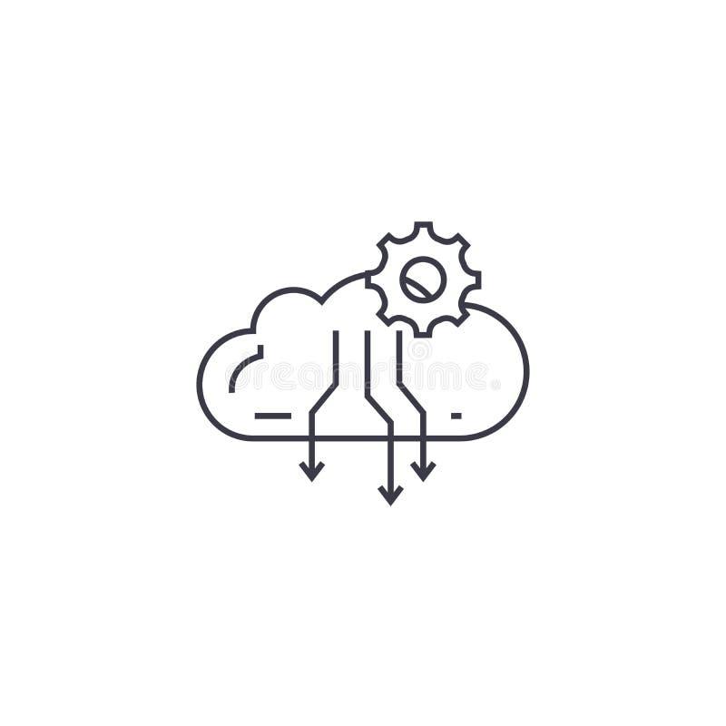 Atmosfärisk linje symbol, tecken, illustration för kondensationsprocessvektor på bakgrund, redigerbara slaglängder vektor illustrationer