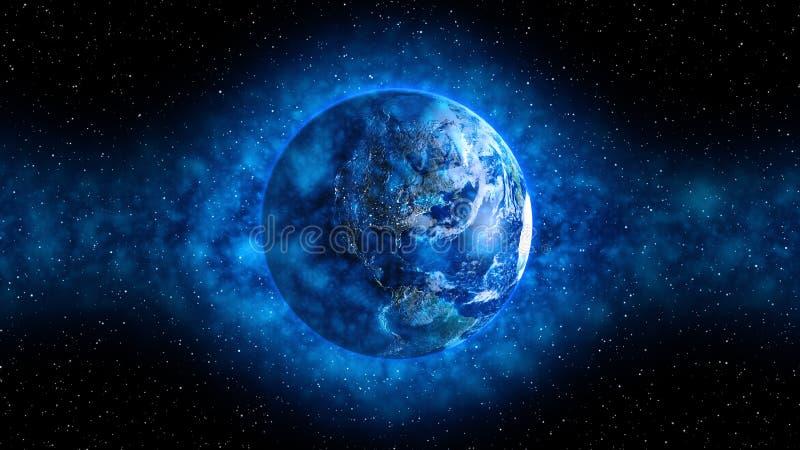 Atmosfera blu intorno a terra illustrazione di stock