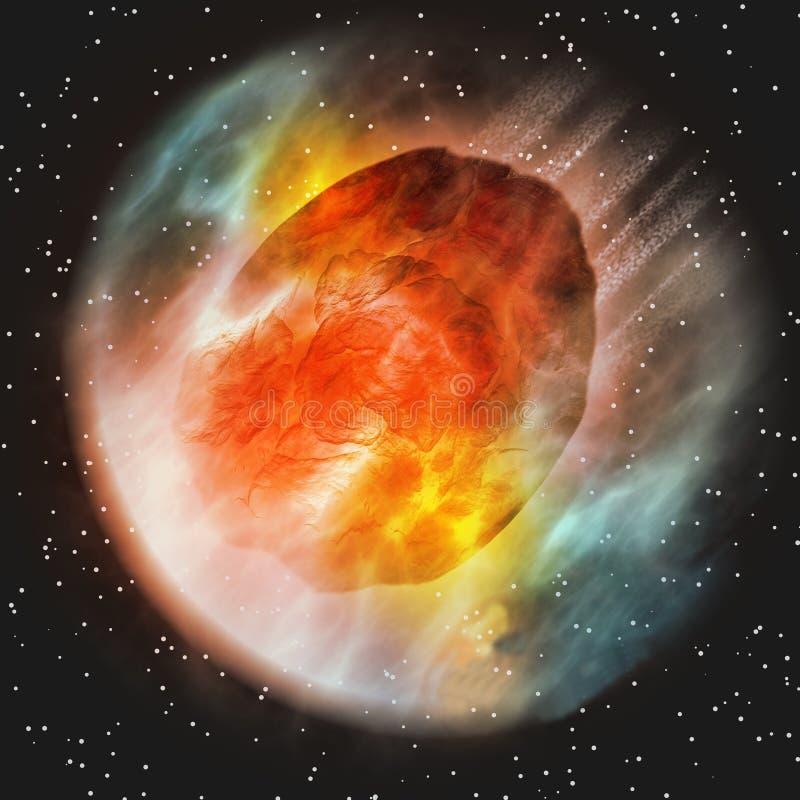 Atmosfera da Terra entrando asteróide ilustração do vetor