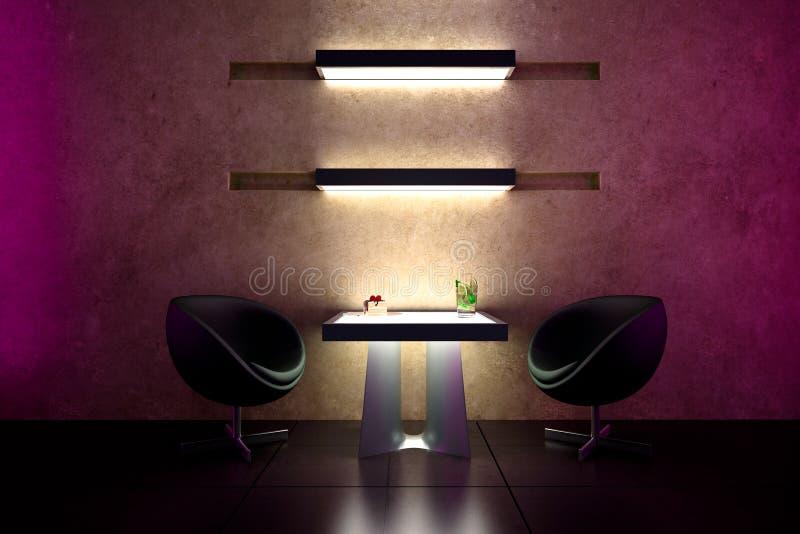 atmosfera do intimate da barra 3d - projeto interior ilustração royalty free