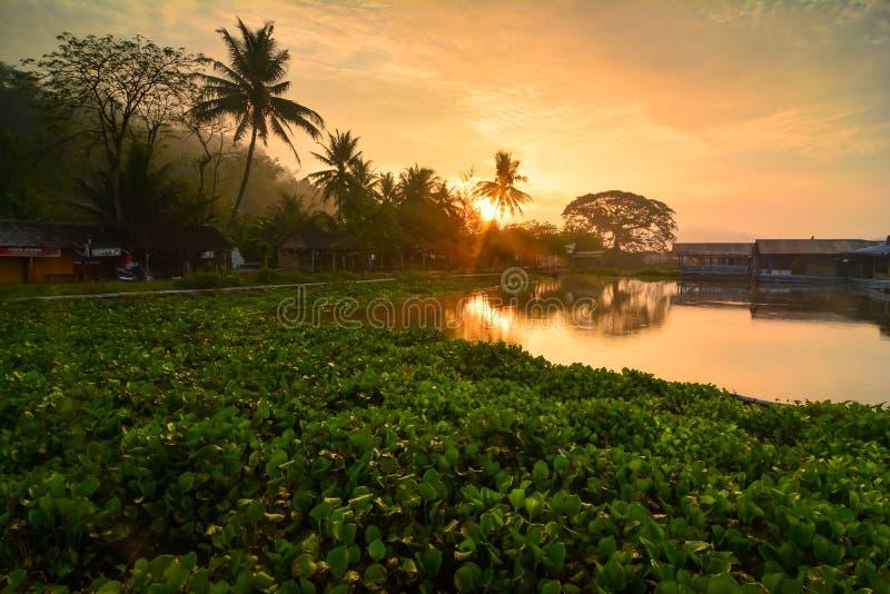 Atmosfera ranek na krawędzi jeziornego Jombor, wioska piękna która obrazy royalty free