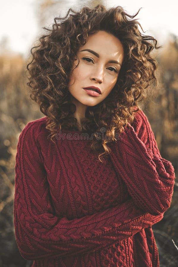Atmosferisch portret van mooie jonge dame stock foto