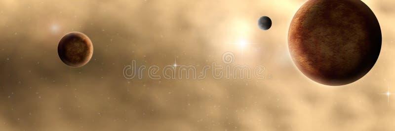Atmosferische RuimtePlaneten Panroama royalty-vrije illustratie
