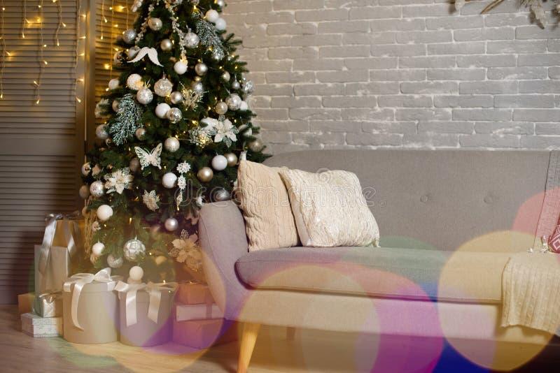 Atmosferyczna dekoracja pokój dla nowego roku Nowego Roku wystroju pokój zdjęcie royalty free