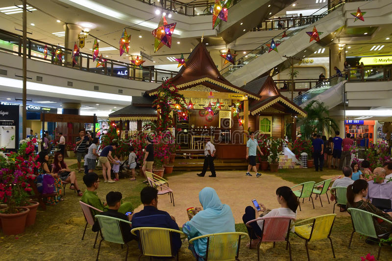 Atmoshphere of Hari Raya Puasa (Eid al-Fitr) in shopping mall in Malaysia during the festive period stock photos