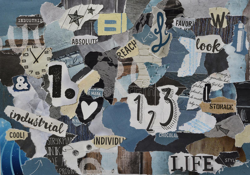 Atmosphere color petrol blue, grey, yellow, brown, black mood board collage sheet made of teared magazine paper with figures royalty free stock images