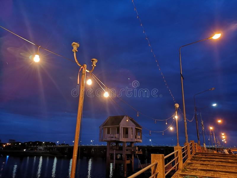 Atmosphere liquid Evening light bulb Beautiful color Blue sky stock photography