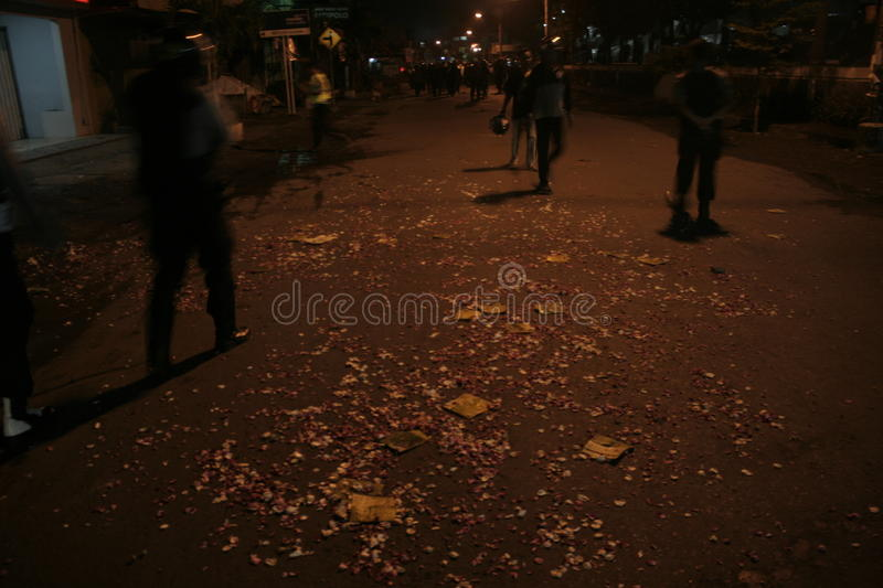 Atmosphere mass destruction Setia Hati Teratai On Pasar Nusukan Solo. Police perform vital security and mass dispel night royalty free stock images