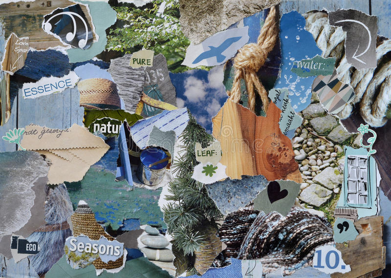 Atmosphere mood board collage sheet in color blue, grey and brown made of teared magazine paper with figures, letters, colors and stock photography