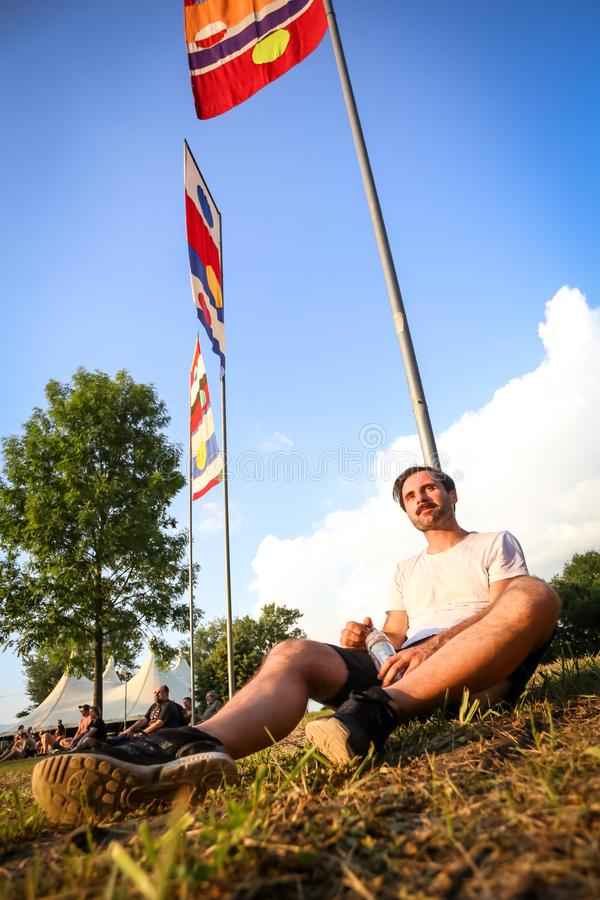 Atmosphere during 2nd In Music festival. Zagreb, Croatia - 25th June, 2019 : Atmosphere during 2nd day of the 14th INmusic festival located on the lake Jarun in royalty free stock images