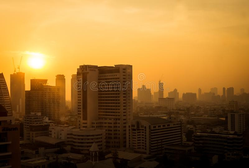 The atmosphere of poor air pollution PM2.5 royalty free stock photo