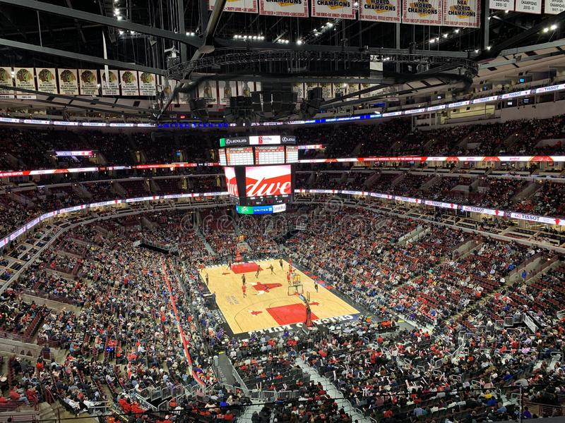 Chicago United Center Sports Competition, venue internal environment. The atmosphere of the sports competition is lively and warm royalty free stock photography