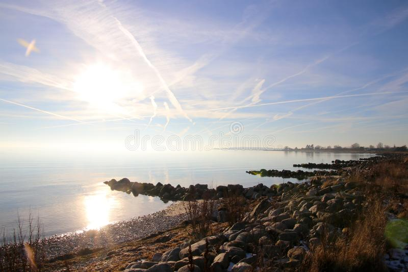 Atmosphere on the stone beach iso lovely. In February royalty free stock image