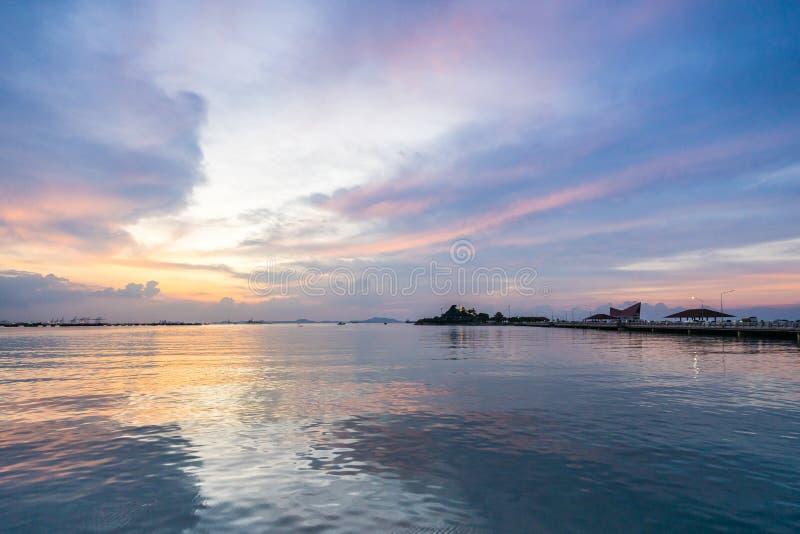 The atmosphere during sunset at Koh Loi Sriracha,Chonburi,Thailand.  stock photo