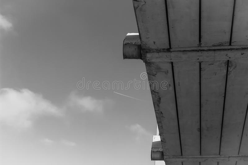 Atmospheric black and white photography the piece of bridge royalty free stock photo