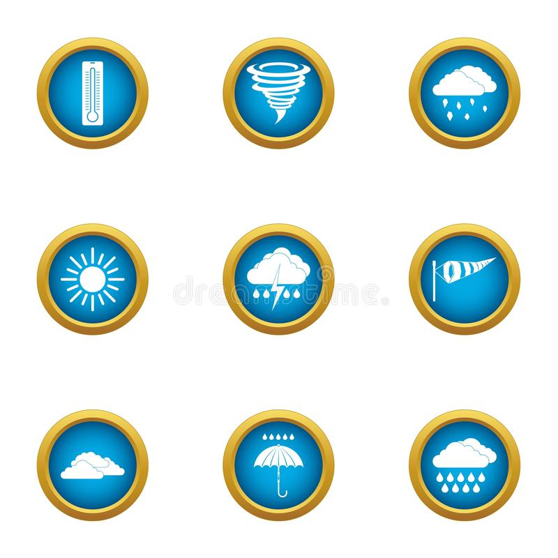 Atmospheric condition icons set, flat style. Atmospheric condition icons set. Flat set of 9 atmospheric condition vector icons for web isolated on white vector illustration