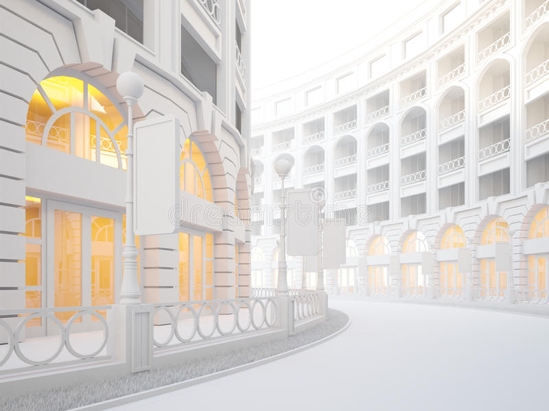 Atmospheric empty street of retail stores. A 3d illustration of atmospheric empty street of retail stores vector illustration