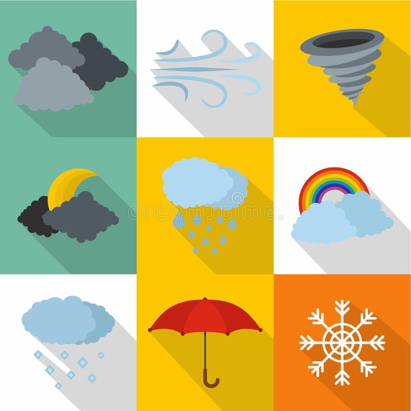 Atmospheric icons set, flat style. Atmospheric icons set. flat set of 9 atmospheric icons for web isolated on white background stock illustration