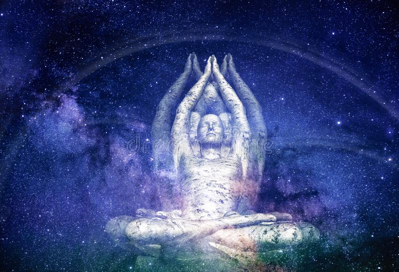 Surreal Illustration of a Male Figure sitting in Meditation. An atmospheric illustration in space with a surrealistic male figure meditating in a yoga, lotus stock photo