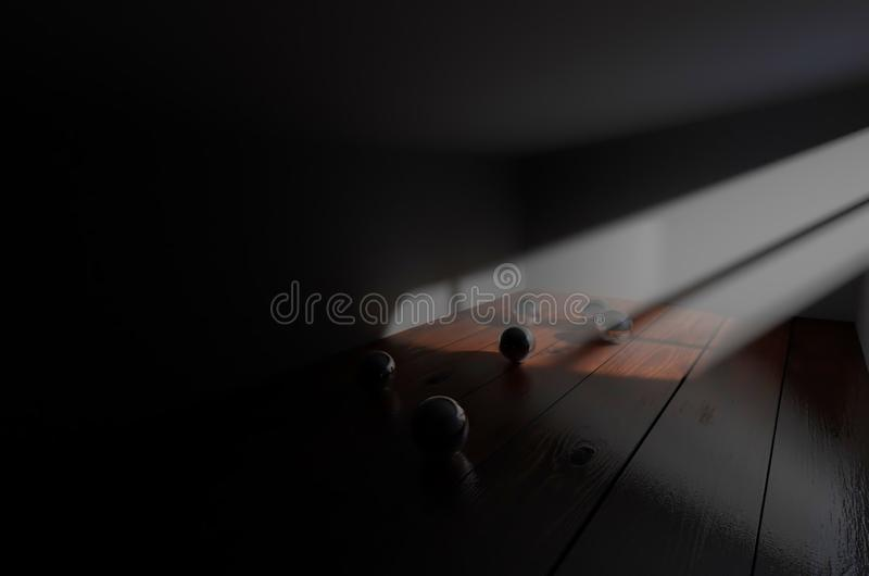 Atmospheric lighting in the room. An illustration about several steel balls in a room with realistic floor texture and atmospheric lighting, generate with 3d vector illustration