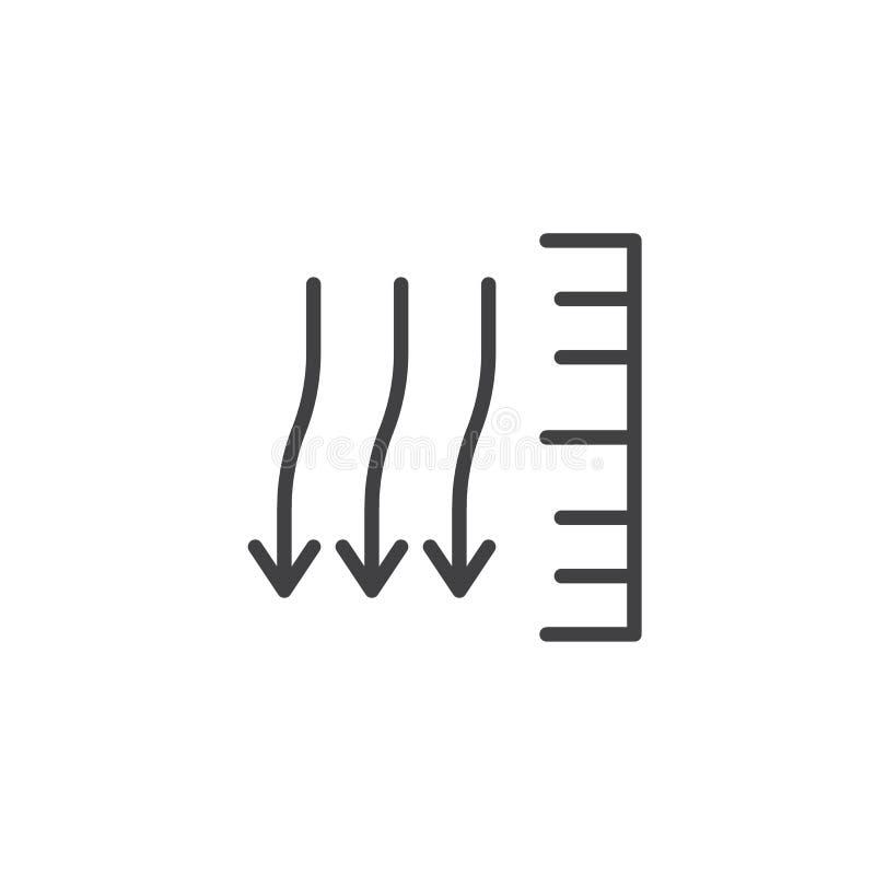 Atmospheric pressure line icon. Outline vector sign, linear style pictogram isolated on white. Symbol, logo illustration. Editable stroke stock illustration
