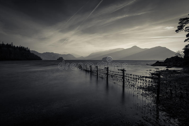 Atmospheric View Of The Mountains At Derwentwater Lake In The Lake District. stock photos