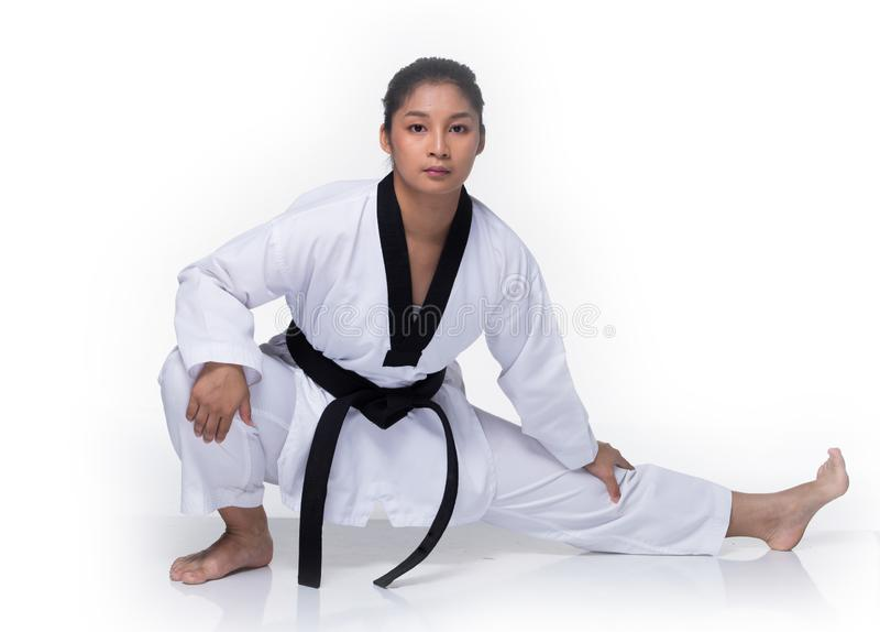 Ato de combate do professor mestre de TaeKwonDo do cintur?o negro fotos de stock royalty free